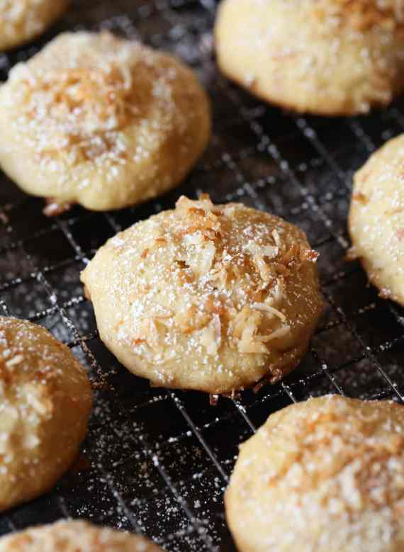 Pineapple Cookies with toasted coconut are light in texture, but loaded with flavor! Like little bits of sweet cake!