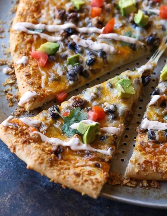 Taco Pizza with Chipotle Cream Sauce