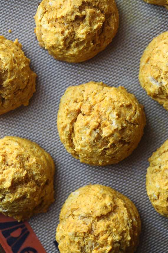 Pumpkin Sage Drop Biscuits. These are crispy on the outside, tender in the middle and packed with fall flavor!
