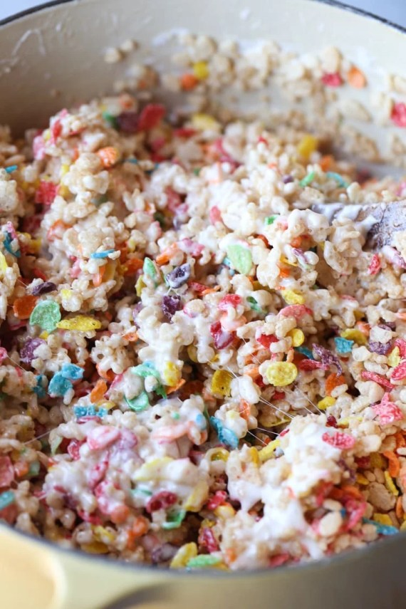 My most favorite krispie treat recipe includes the perfect amount of marshmallow and fruity pebbles! This are my most requested sweet treat at parties!