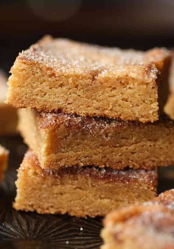 Churro Bars! These are chewy and loaded with cinnamon sugar! Just like a churro in bar form!
