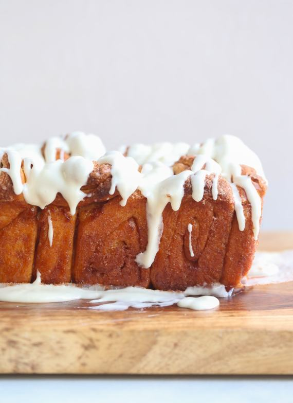 Pull Apart Cinnamon Roll Bread with Cream Cheese Icing