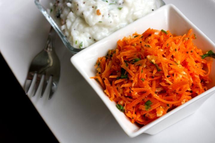 Carrot Kosambari | Carrot Salad with Indian Seasoning