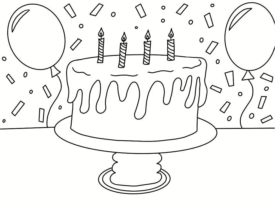 Birthday Cake Coloring Page Cookies Racecars