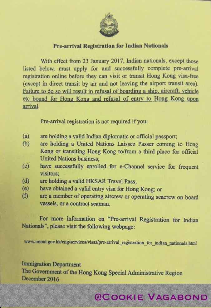 hong kong visa notice