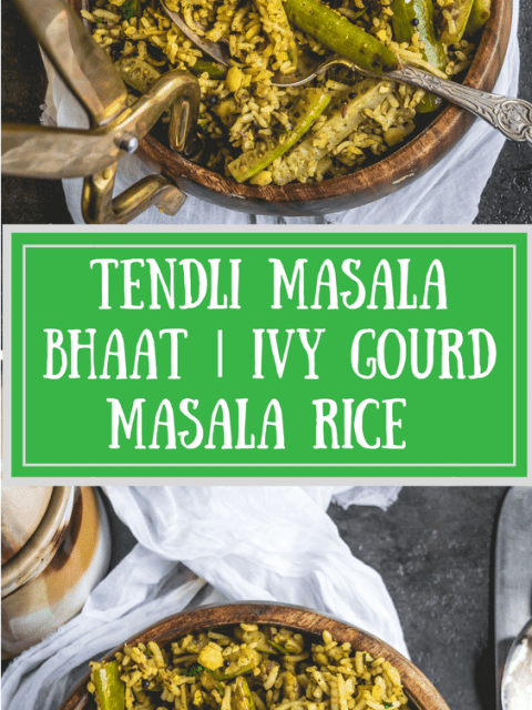 2 images of Tendli Masala Bhaat | Ivy Gourd Masala Rice with text in the middle