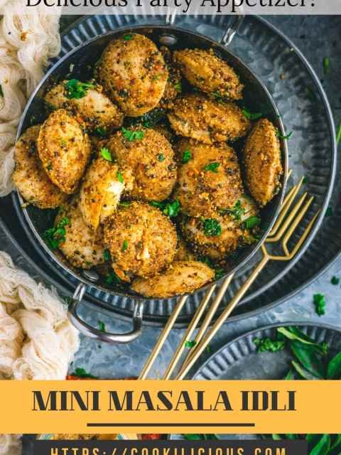 top angle view of Mini Masala Idli in a small kadai with a tray full of curry leaves on the side with text on top and at the bottom