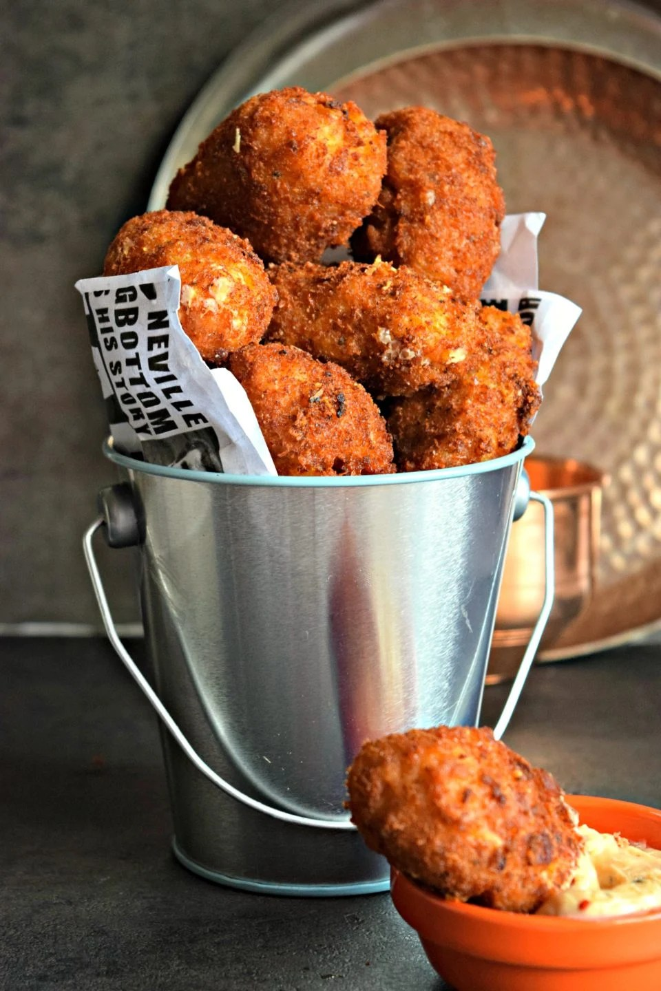 Cheesy Rice Vegan Kebabs served in a bucket