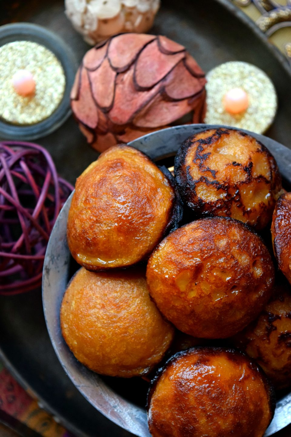 Sweet Potato Nei Paniyaram With Leftover PuranAppetizers & Snacks Desserts Power Breakfasts South Indian