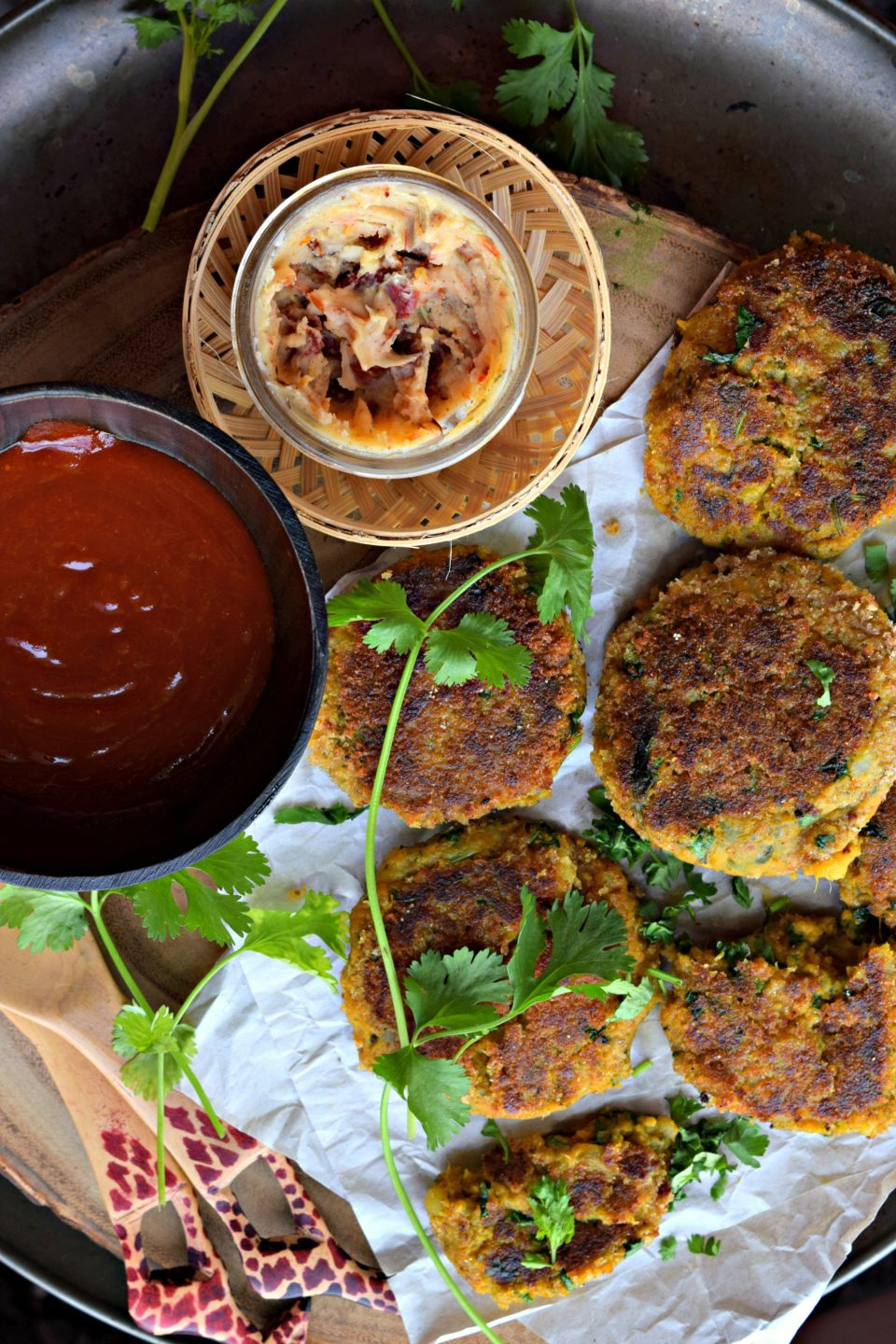 Spicy Sweet Potato Tikki With Chole ChaatAppetizers & Snacks