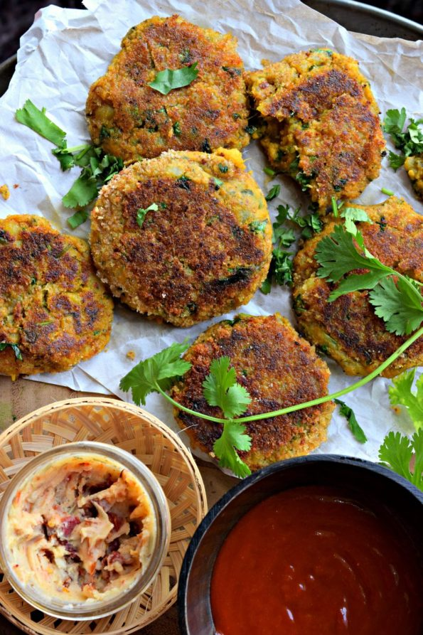 Spicy Sweet Potato Tikki With Chole Chaat
