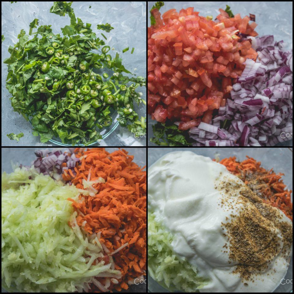 4 steps showing the process to make Maharashtrian Koshimbir