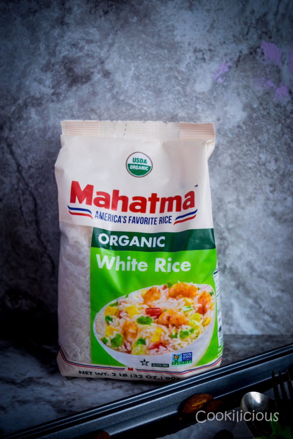 Image of a bag of Mahatma Organic white rice to make dosa batter