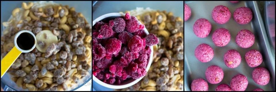 3 steps showing the process to prepare Vegan No Bake Raspberry Energy Bites