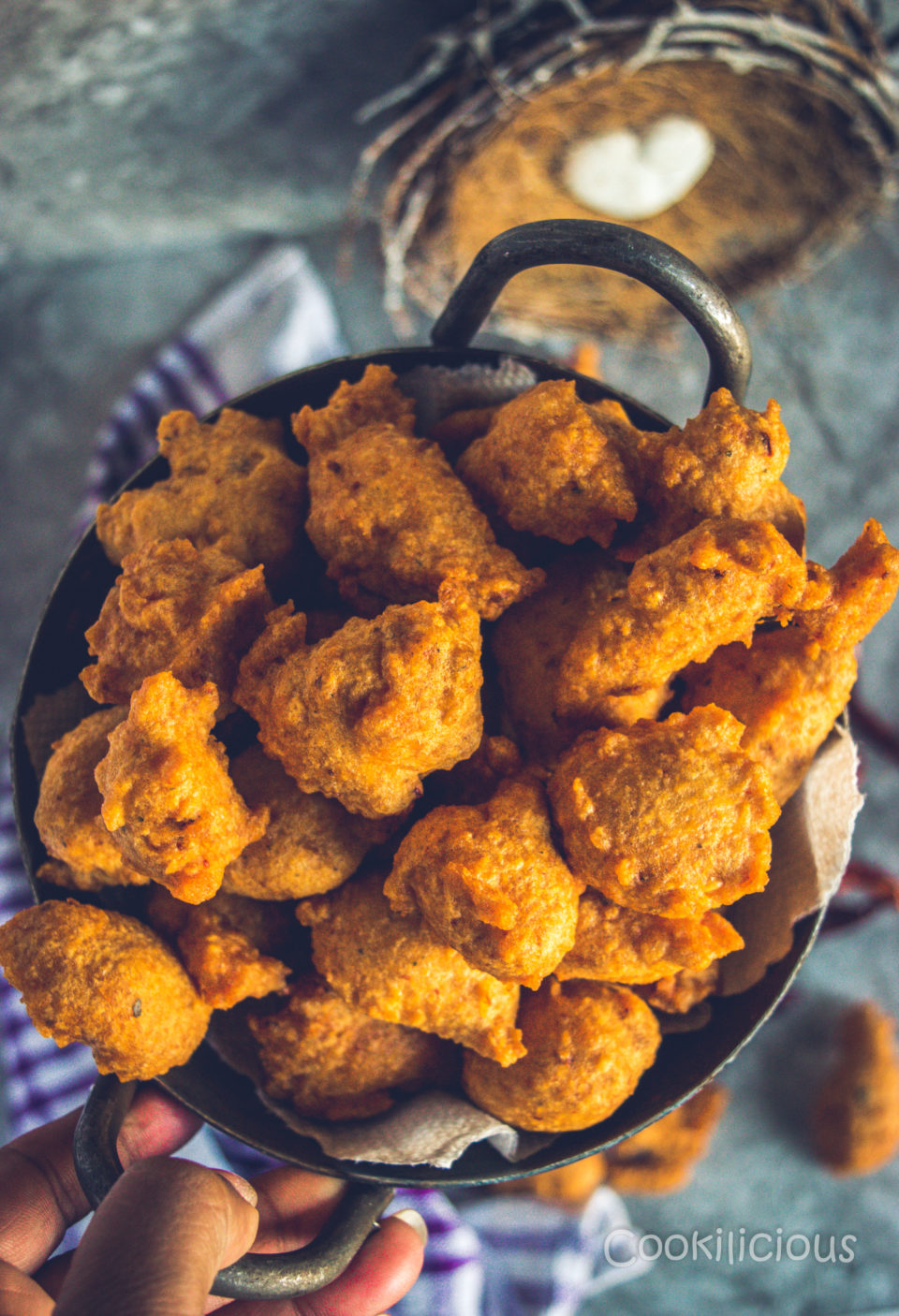 Top shot of a kadai filled with South Indian Medu Wada | Lentil Fritters