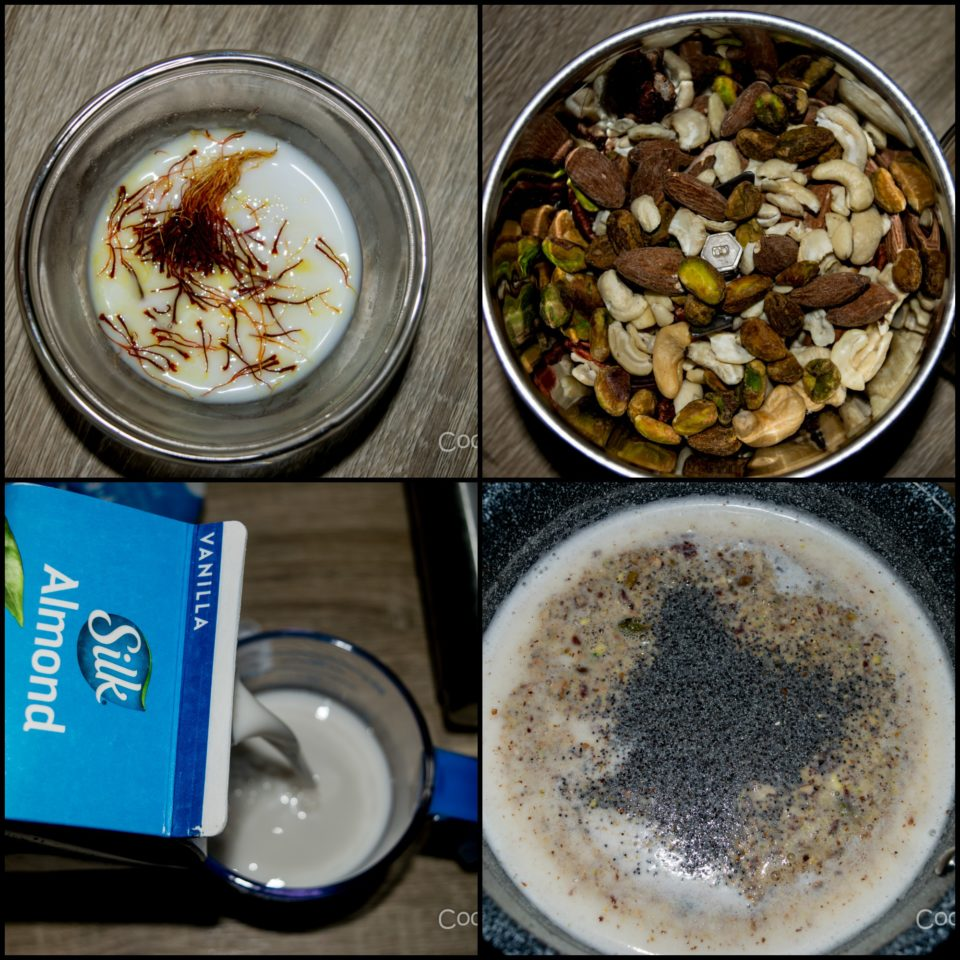 4 images showing the steps to make Vegan Zaffrani Mewa Doodh