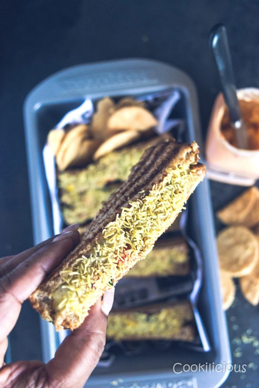 close up shot of Sev Puri Grill Sandwich