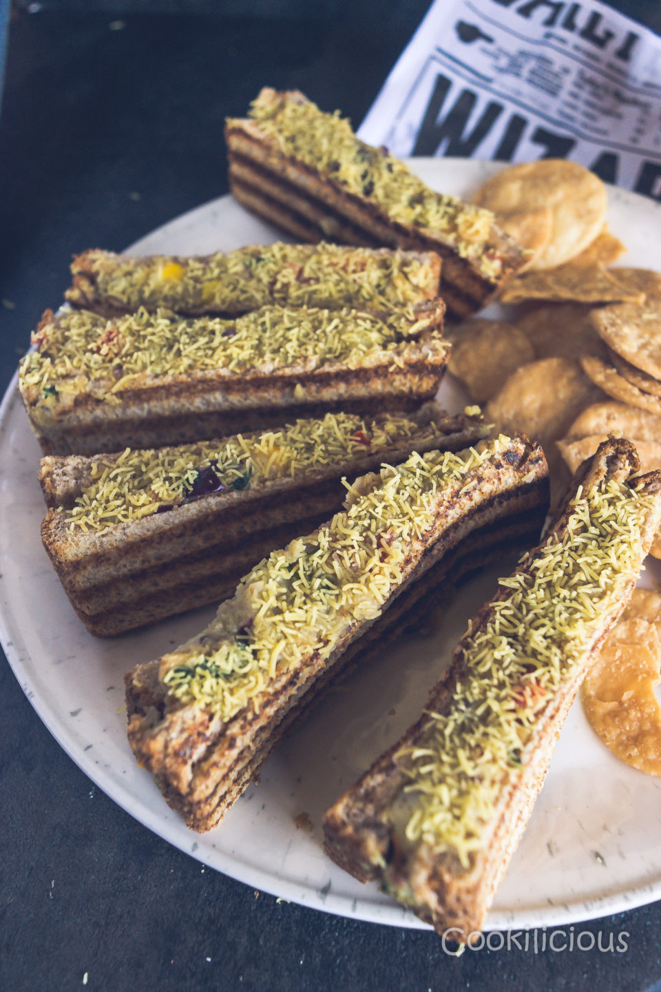 Sev Puri Grill SandwichAppetizers & Snacks Power Breakfasts