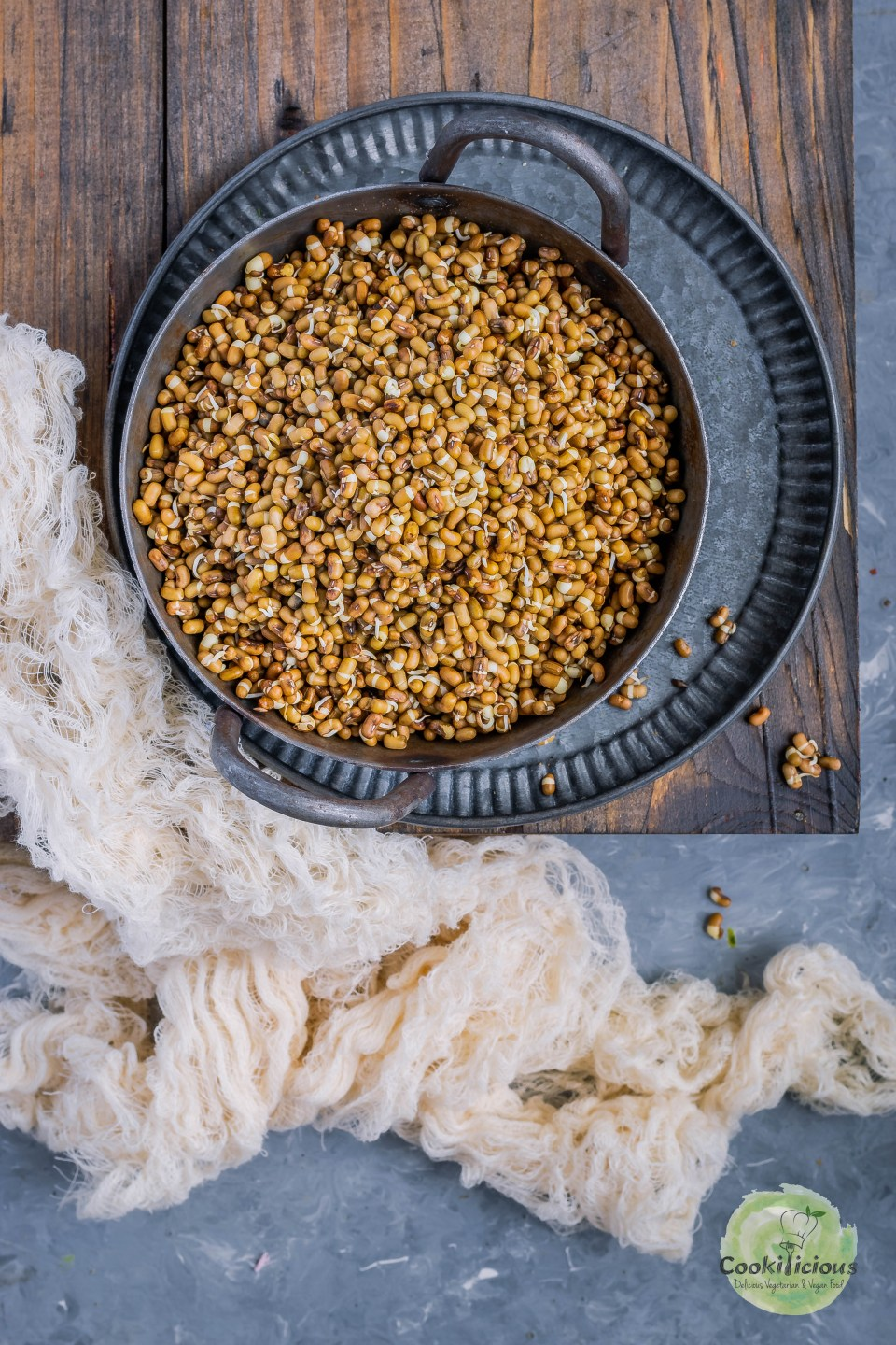 moth beans or matki sprouts in a kadai