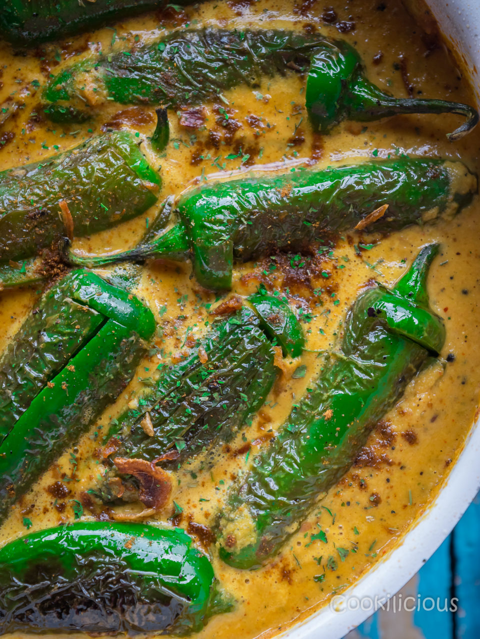 extreme close up shot of Mirchi Ka Salan | Curried Chilly Peppers