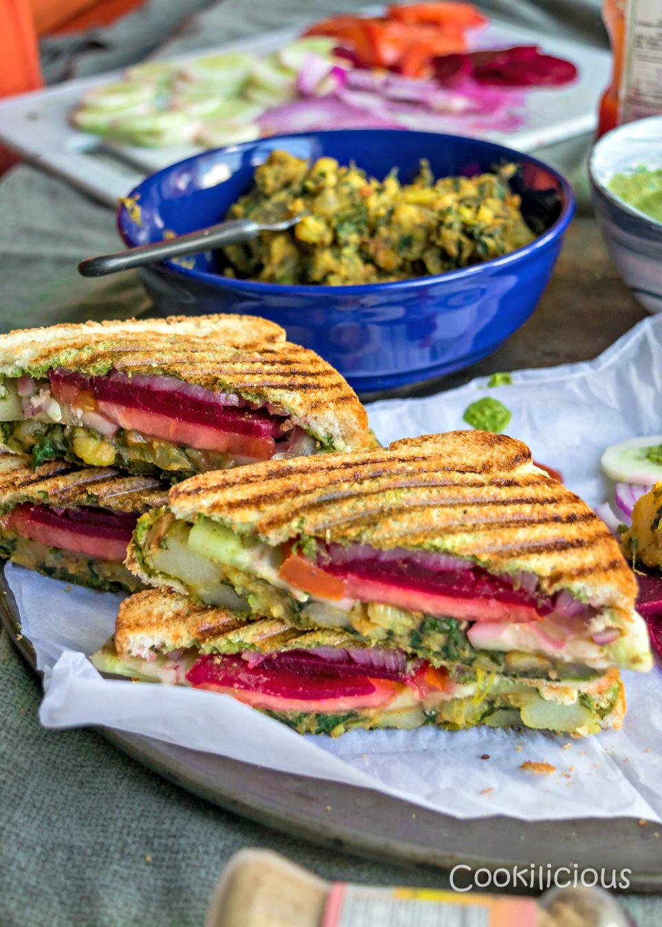Bombay Style Veg Masala Toast SandwichBurgers & Sandwiches