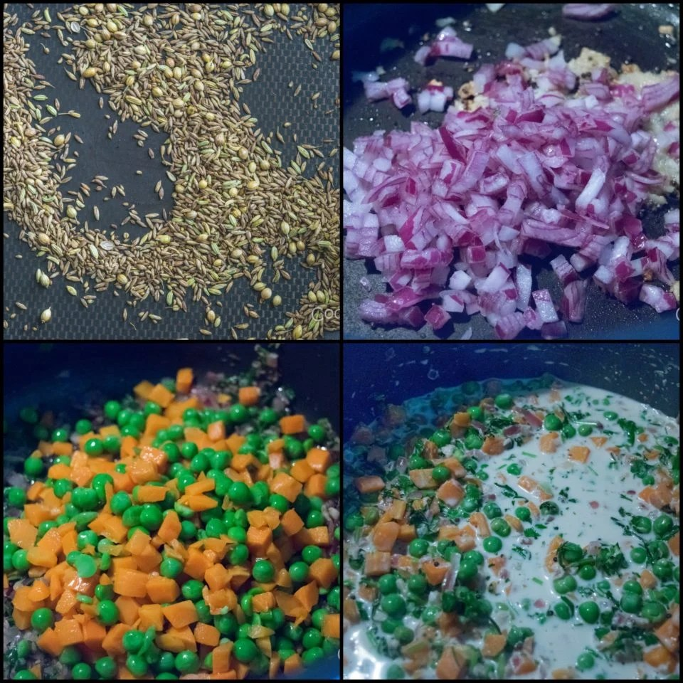 4 steps showing the process to make Rajasthani Carrot & Peas Gravy