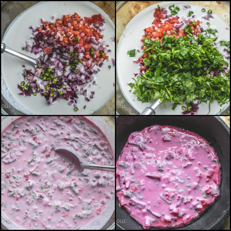 4 images showing the steps to make Pink Uttapam with Beets & Veggies