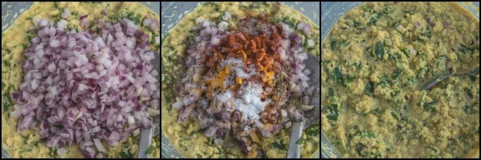 3 image collage showing the steps to make Steamed Chana Dal Lentil Bafauri