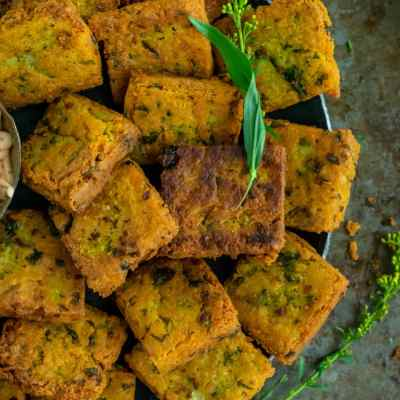 Fried Besan (Chickpea Flour) & Potato Squares Recipe