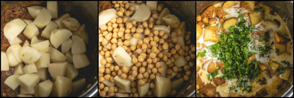3 image collage showing the process of making Instant Pot Creamy Potato & Chickpeas Vegan Curry at home