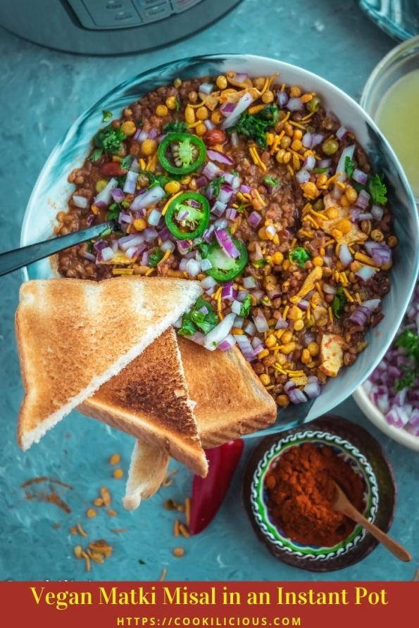 top angle close up shot of a bowl filled with Vegan Matki Misal with bread slices around it & text at the bottom