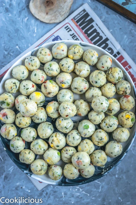 Semolina Vegetable Bites ready to get fried