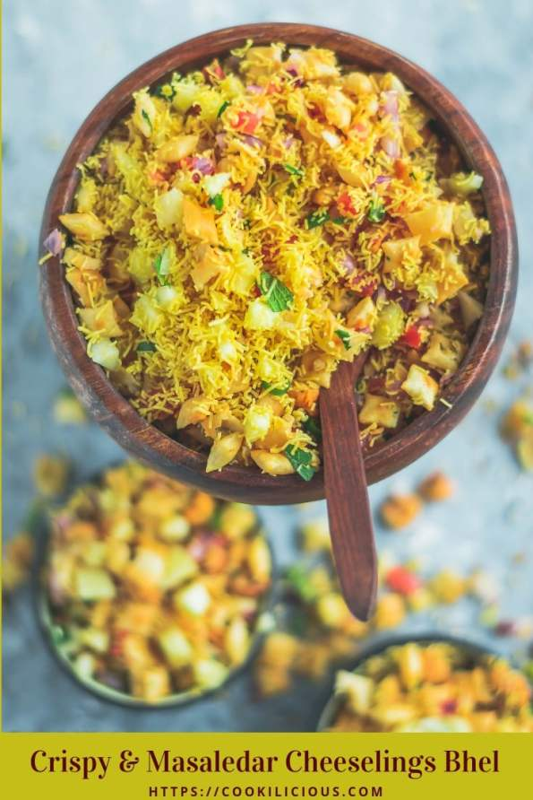a bowl filled with 2 bowls containing Crispy & Masaledar Cheeselings Bhel and text at the bottom