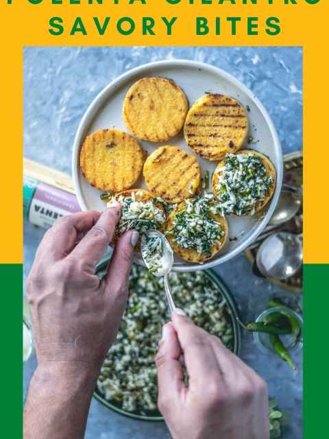 a set of hands spreading the masala over the grilled polenta and text at the top