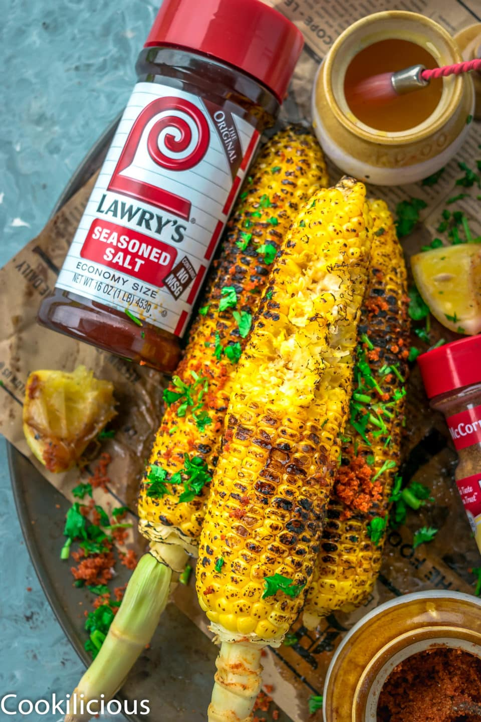 close up shot of a half eaten Indian Street Style Corn On The Cob