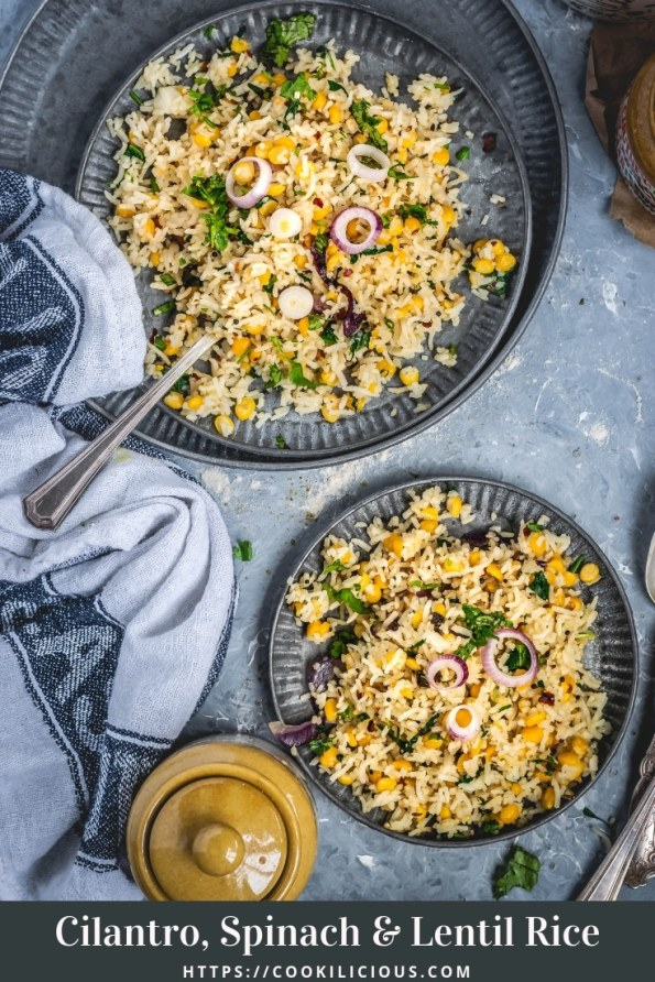 flat lay image of one big and one small plate with Cilantro, Spinach & Lentil Rice in it and text at the bottom