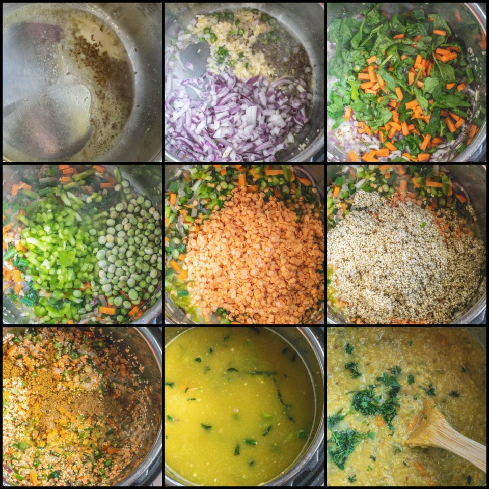 9 image collage showing the steps to make Instant Pot Quinoa & Chickpeas Khichdi