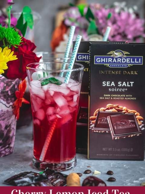 a glass of Cherry Lemon Iced Tea with a straw in it and Ghirardelli dark chocolate on the side and text at the bottom