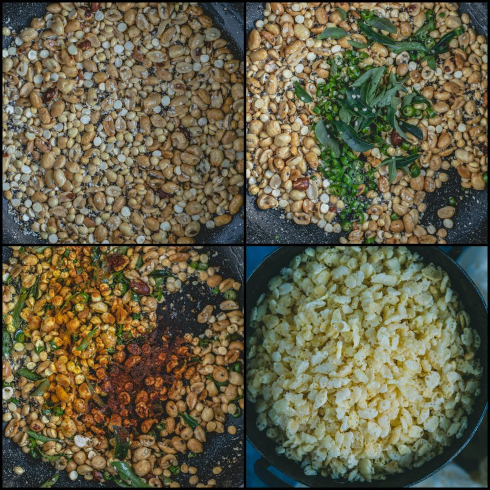 4 image collage showing the steps to make Rice Krispie Chivda