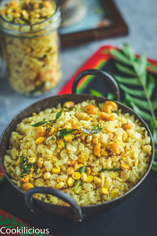 close up shot of Rice Krispie Chivda in a kadai