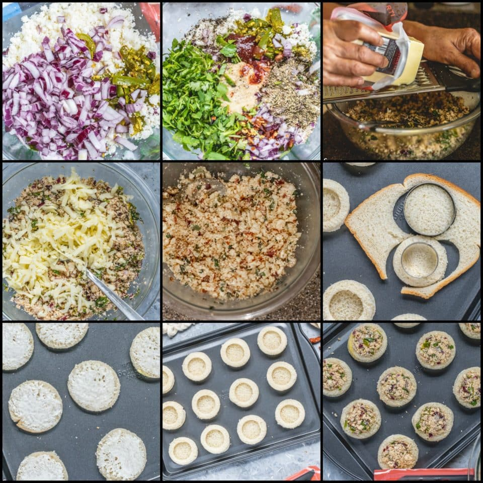 9 image collage showing the steps to make Baked Cheese Stuffed Bread Rings