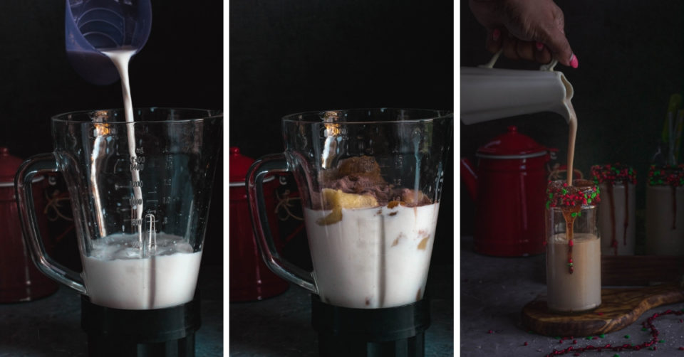 3 image collage showing how to make Chickoo Banana Milkshake
