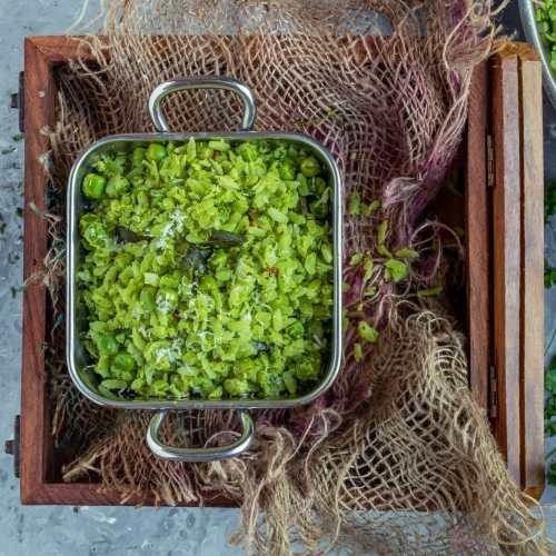 Cilantro Poha in a square bowl
