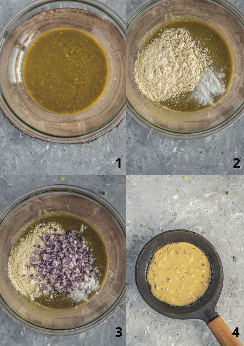 4 image collage showing the steps to make Lentil Pancakes with Leftover Dal