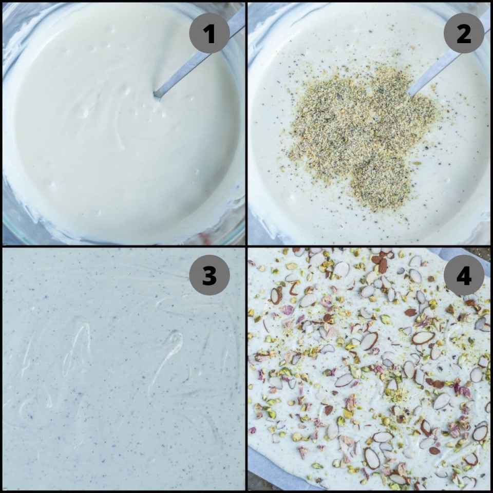 4 image collage showing the steps to make Thandai Chocolate Bark
