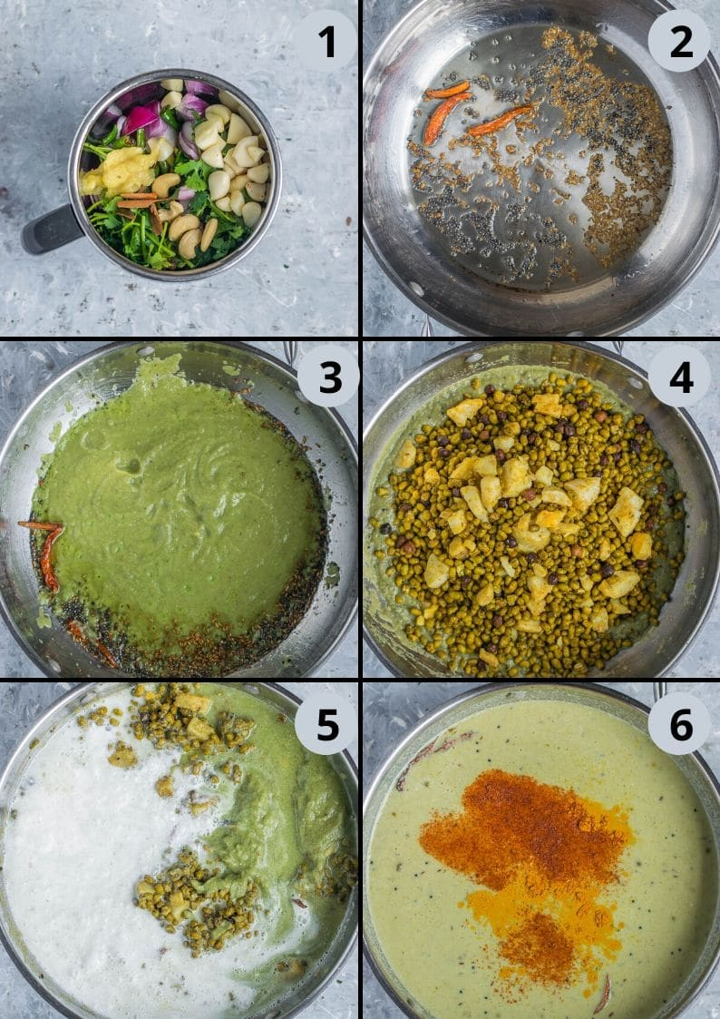 6 image collage of images showing how to make mung bean sprouts Coconut Vegan Curry