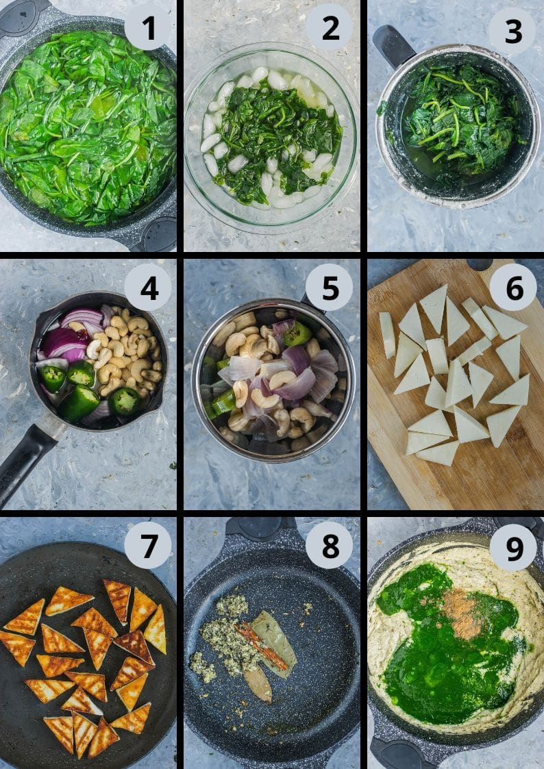 9 image collage showing the steps to make Restaurant Style Palak Paneer