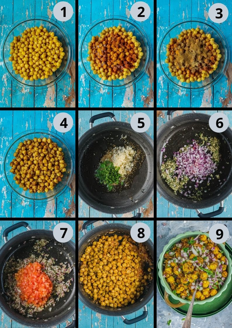 9 image collage showing the steps to make Tawa Chole   Chickpea Stir Fry