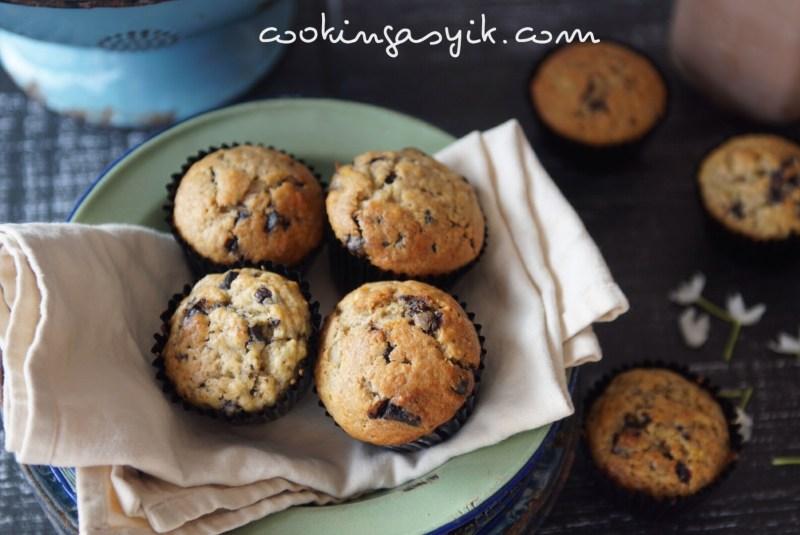 banana muffin, banana chocochips muffin, resep muffin mudah, resep serba pisang, bolu pisang coklat