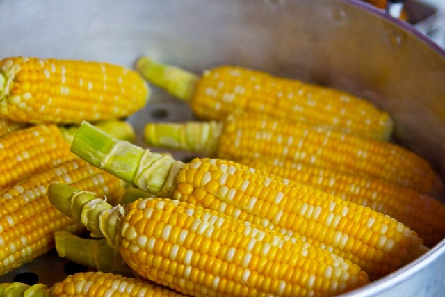 steaming corn with skillet